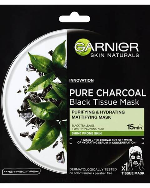 GARNIER Skin Black Mask PURE CHARCOAL Čierny čaj